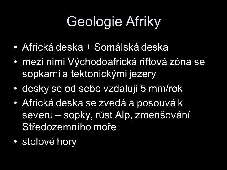 Geologie Afriky Africká deska + Somálská deska mezi nimi Východoafrická riftová zóna se sopkami a tektonickými jezery desky se od sebe vzdalují 5 mm/r