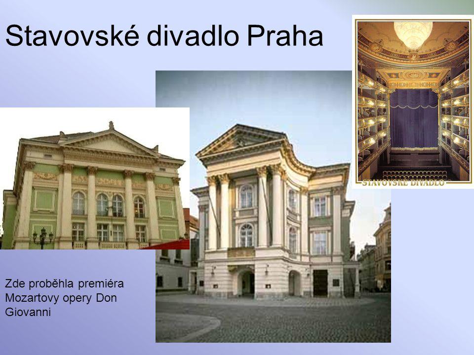 Stavovské divadlo Praha Zde proběhla premiéra Mozartovy opery Don Giovanni