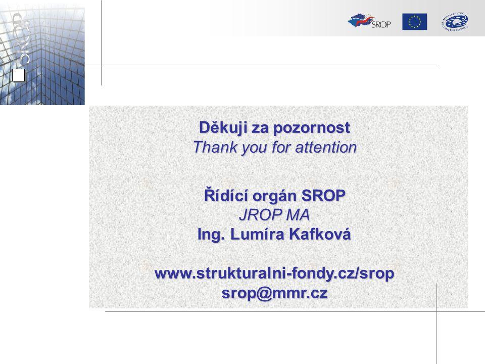 Děkuji za pozornost Thank you for attention Řídící orgán SROP JROP MA Ing. Lumíra Kafková www.strukturalni-fondy.cz/sropsrop@mmr.cz