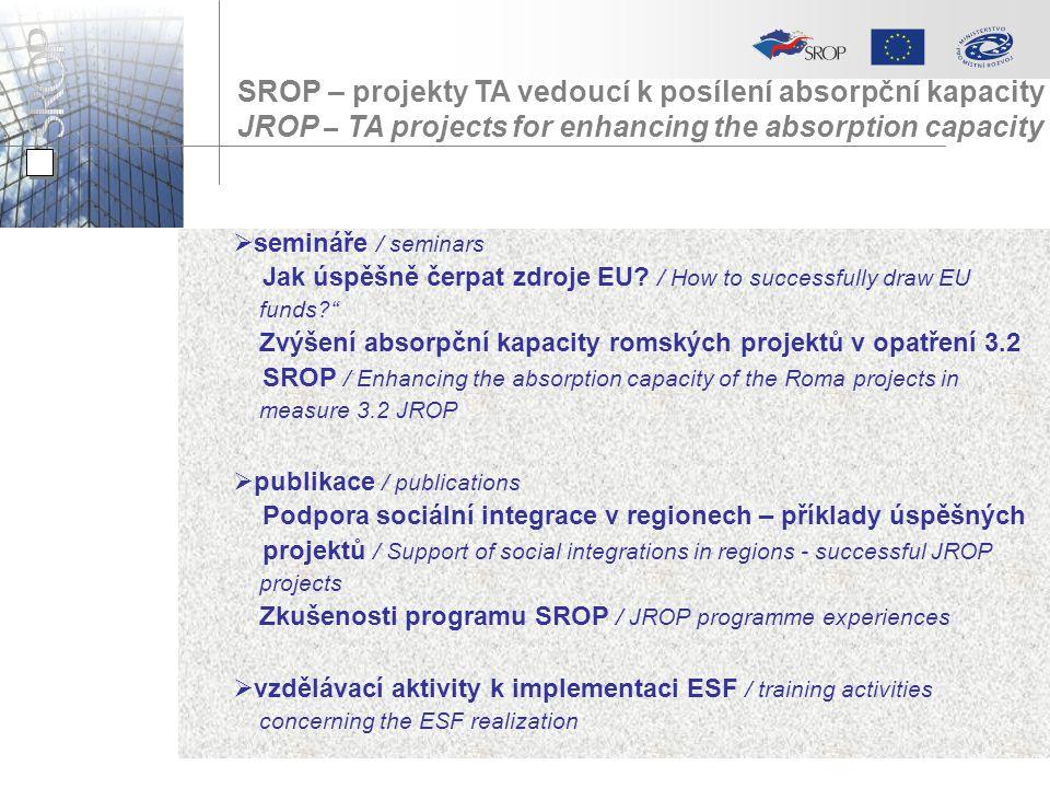 SROP – projekty TA vedoucí k posílení absorpční kapacity JROP – TA projects for enhancing the absorption capacity  semináře / seminars Jak úspěšně če