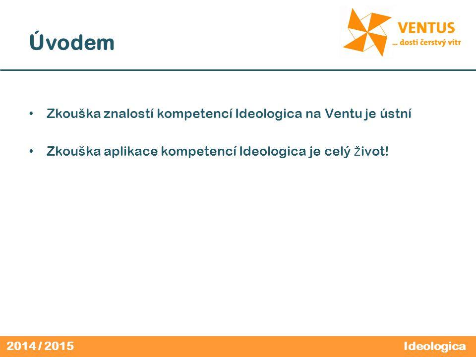 2014 / 2015 Úvodem Zkouška znalostí kompetencí Ideologica na Ventu je ústní Zkouška aplikace kompetencí Ideologica je celý ž ivot.