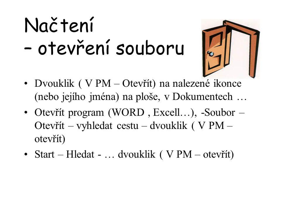 Načtení – otevření souboru Dvouklik ( V PM – Otevřít) na nalezené ikonce (nebo jejího jména) na ploše, v Dokumentech … Otevřít program (WORD, Excell…)