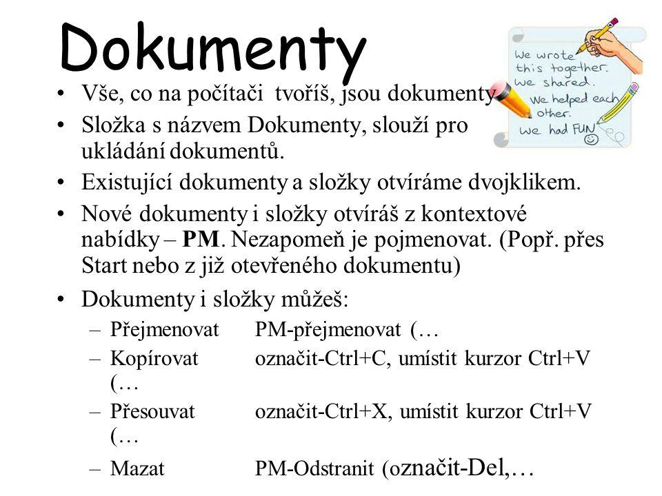 Dokumenty Vše, co na počítači tvoříš, jsou dokumenty. Složka s názvem Dokumenty, slouží pro ukládání dokumentů. Existující dokumenty a složky otvíráme