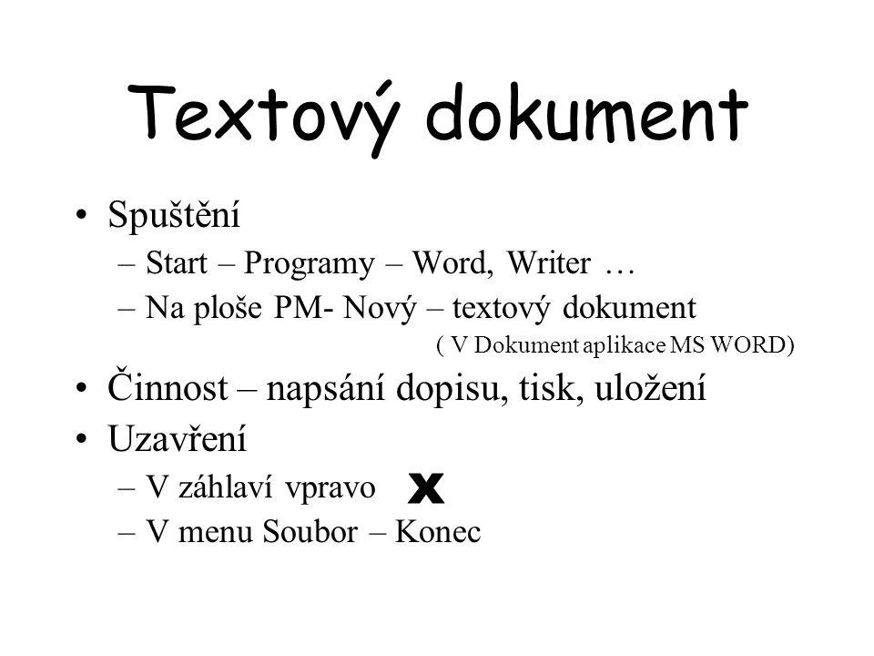 Textový dokument Spuštění –Start – Programy – Word, Writer … –Na ploše PM- Nový – textový dokument ( V Dokument aplikace MS WORD) Činnost – napsání do