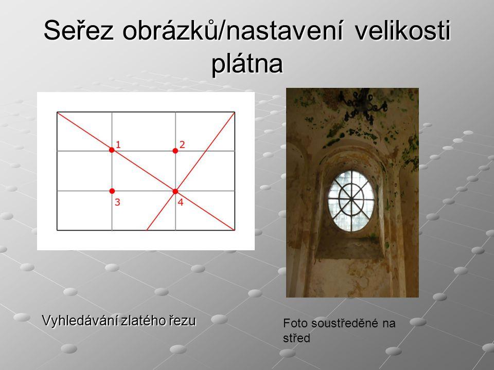 Seřez obrázků/nastavení velikosti plátna Vyhledávání zlatého řezu Foto soustředěné na střed