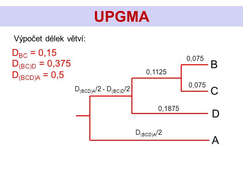 UPGMA Výpočet délek větví: D BC = 0,15 D (BC)D = 0,375 D (BCD)A = 0,5 C B D A D (BCD)A /2 D (BCD)A /2 - D (BC)D /2 0,075 0,1875 0,1125