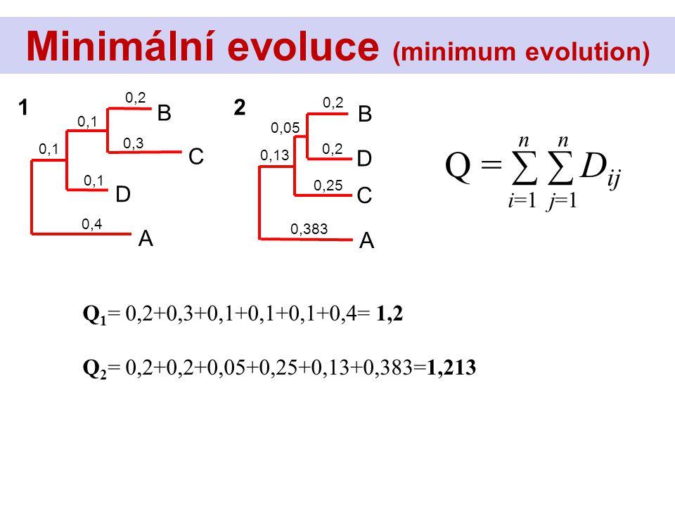 Q = ∑ ∑ D ij n i=1 j=1 Minimální evoluce (minimum evolution) C B D A 0,2 0,3 0,1 0,4 0,1 D B C A 0,2 0,05 0,383 0,13 0,2 0,25 12 Q 1 = 0,2+0,3+0,1+0,1+0,1+0,4= 1,2 Q 2 = 0,2+0,2+0,05+0,25+0,13+0,383=1,213
