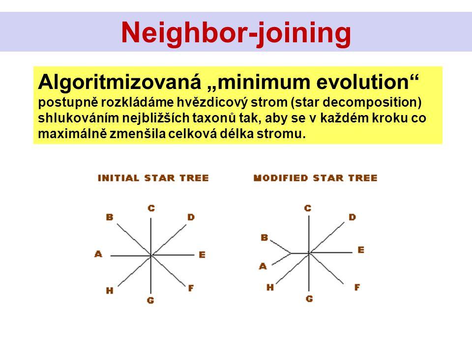 """Algoritmizovaná """"minimum evolution"""" postupně rozkládáme hvězdicový strom (star decomposition) shlukováním nejbližších taxonů tak, aby se v každém krok"""