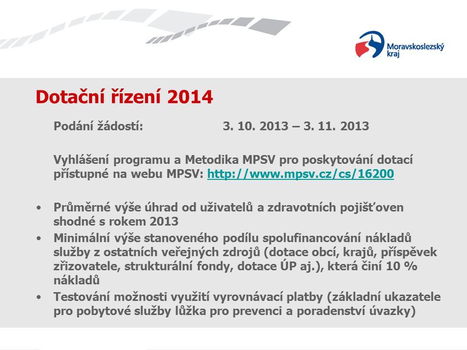 Dotační řízení 2014 Podání žádostí:3. 10. 2013 – 3.