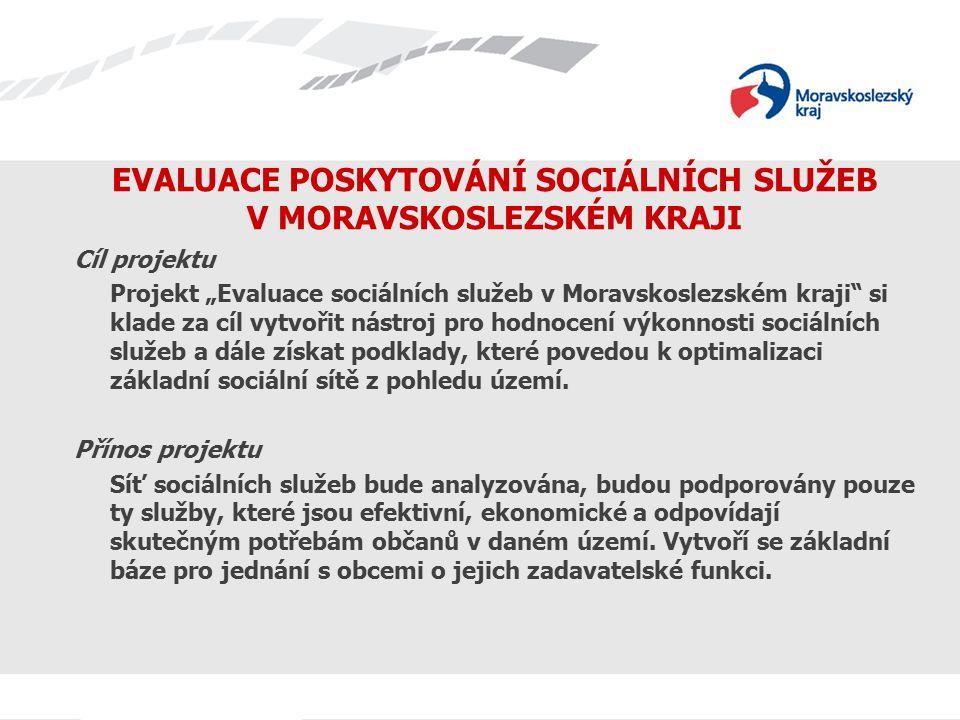 """EVALUACE POSKYTOVÁNÍ SOCIÁLNÍCH SLUŽEB V MORAVSKOSLEZSKÉM KRAJI Cíl projektu Projekt """"Evaluace sociálních služeb v Moravskoslezském kraji si klade za cíl vytvořit nástroj pro hodnocení výkonnosti sociálních služeb a dále získat podklady, které povedou k optimalizaci základní sociální sítě z pohledu území."""