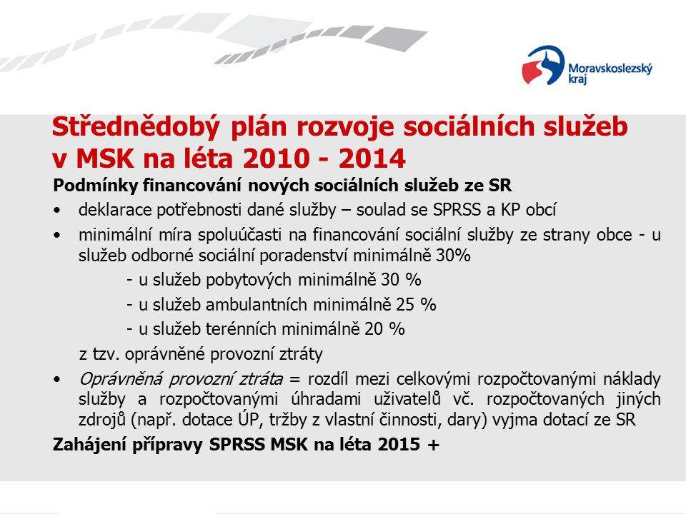 Střednědobý plán rozvoje sociálních služeb v MSK na léta 2010 - 2014 Podmínky financování nových sociálních služeb ze SR deklarace potřebnosti dané služby – soulad se SPRSS a KP obcí minimální míra spoluúčasti na financování sociální služby ze strany obce - u služeb odborné sociální poradenství minimálně 30% - u služeb pobytových minimálně 30 % - u služeb ambulantních minimálně 25 % - u služeb terénních minimálně 20 % z tzv.