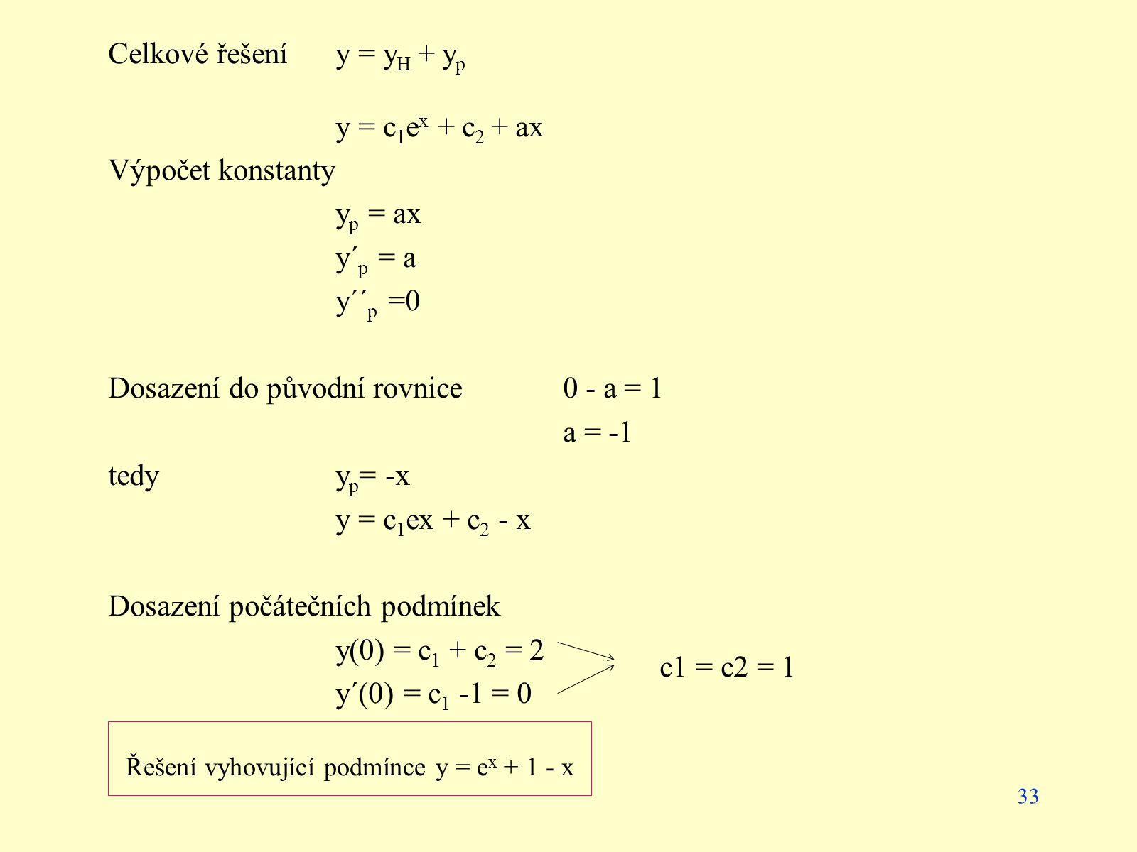 33 Celkové řešení y = y H + y p y = c 1 e x + c 2 + ax Výpočet konstanty y p = ax y´ p = a y´´ p =0 Dosazení do původní rovnice 0 - a = 1 a = -1 tedyy