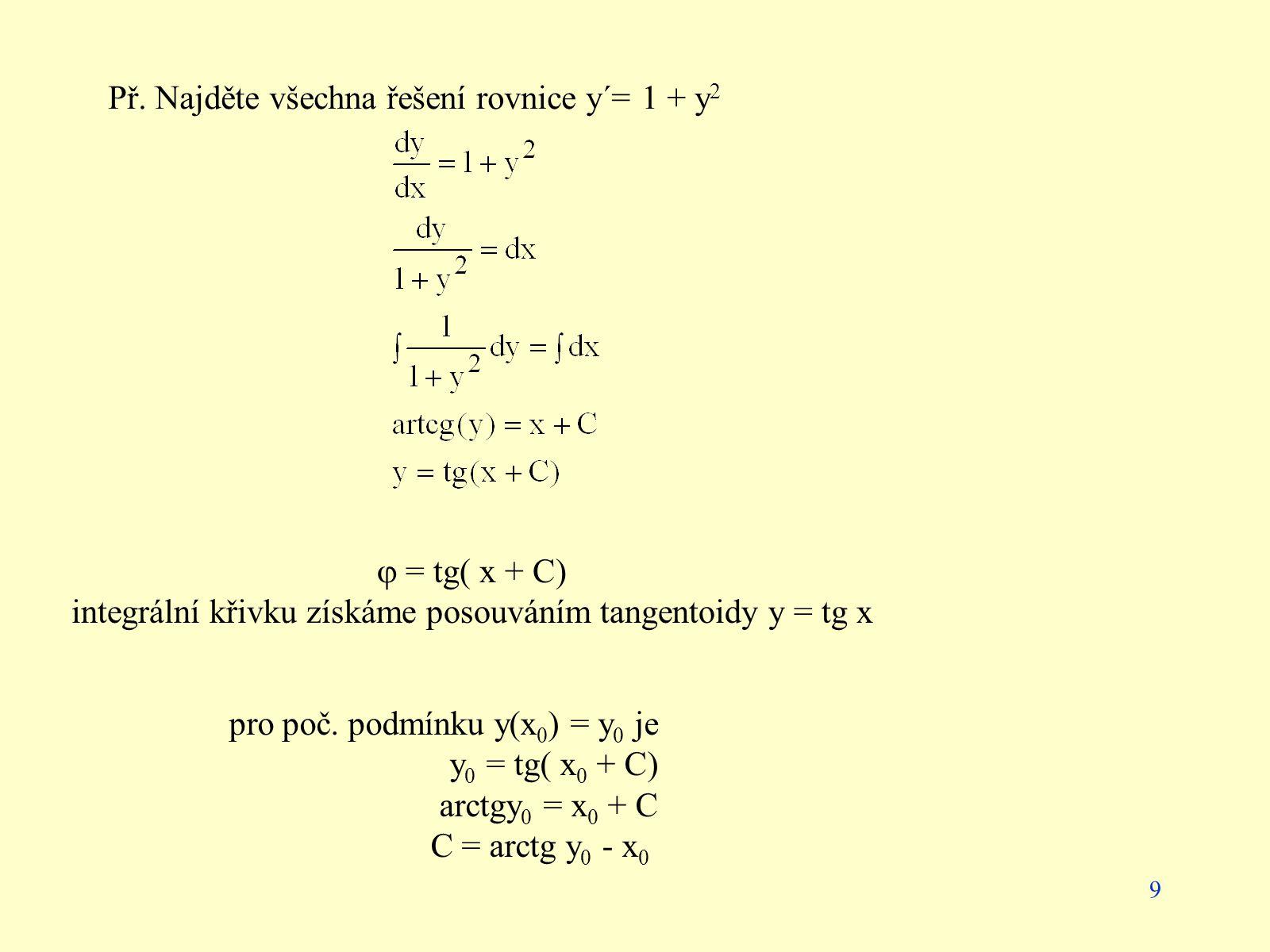 9 Př. Najděte všechna řešení rovnice y´= 1 + y 2  = tg( x + C) integrální křivku získáme posouváním tangentoidy y = tg x pro poč. podmínku y(x 0 ) =