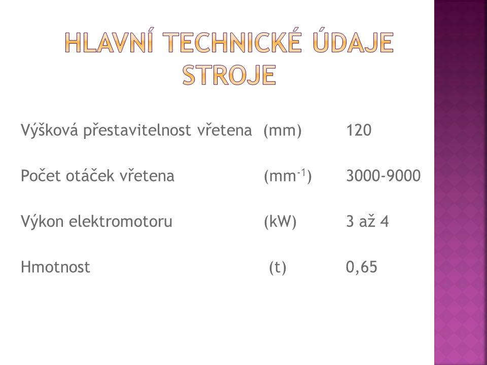 Výšková přestavitelnost vřetena (mm)120 Počet otáček vřetena (mm -1 )3000-9000 Výkon elektromotoru (kW)3 až 4 Hmotnost (t)0,65