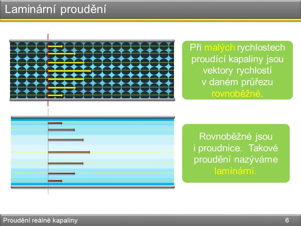 Laminární proudění Proudění reálné kapaliny 6 Při malých rychlostech proudící kapaliny jsou vektory rychlostí v daném průřezu rovnoběžné.