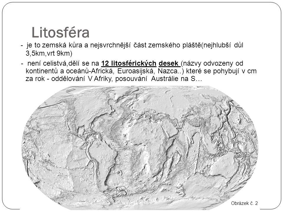 Litosféra - je to zemská kůra a nejsvrchnější část zemského pláště(nejhlubší důl 3,5km,vrt 9km) - není celistvá,dělí se na 12 litosférických desek (ná