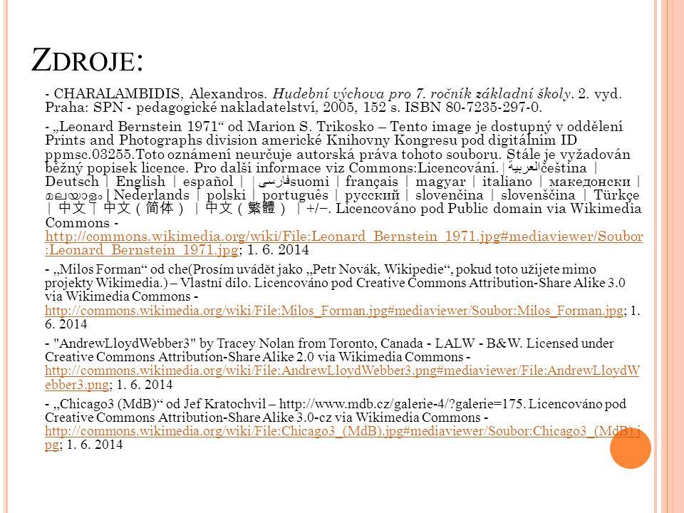 Z DROJE : - CHARALAMBIDIS, Alexandros. Hudební výchova pro 7. ročník základní školy. 2. vyd. Praha: SPN - pedagogické nakladatelství, 2005, 152 s. ISB