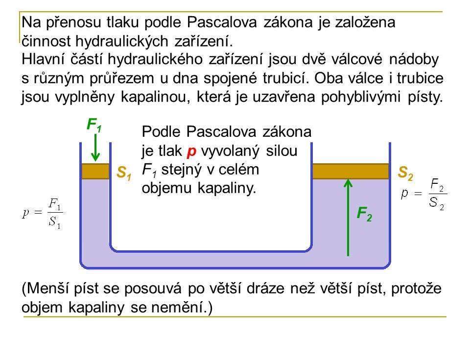 Na přenosu tlaku podle Pascalova zákona je založena činnost hydraulických zařízení. Hlavní částí hydraulického zařízení jsou dvě válcové nádoby s různ