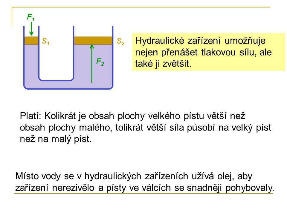 Hydraulické zařízení umožňuje nejen přenášet tlakovou sílu, ale také ji zvětšit. Platí: Kolikrát je obsah plochy velkého pístu větší než obsah plochy