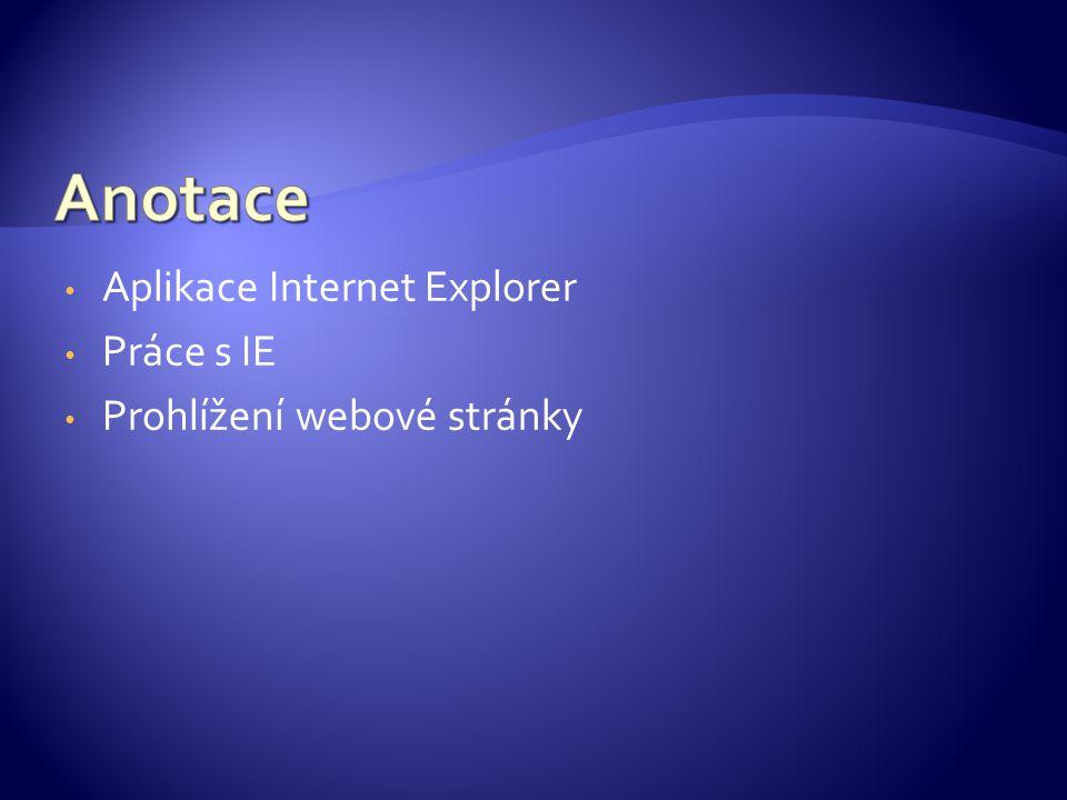 K prohlížení webových stránek slouží aplikace Internet Explorer Najdete ho v nabídce Start/Programy
