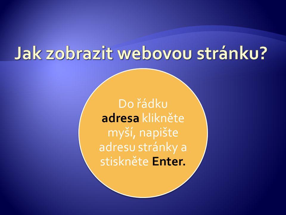 Do řádku adresa klikněte myší, napište adresu stránky a stiskněte Enter.