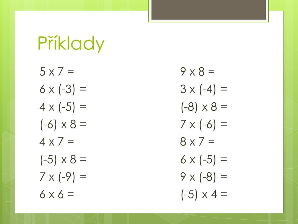Pokud násobíme dvě záporná čísla, výsledek je číslo kladné.