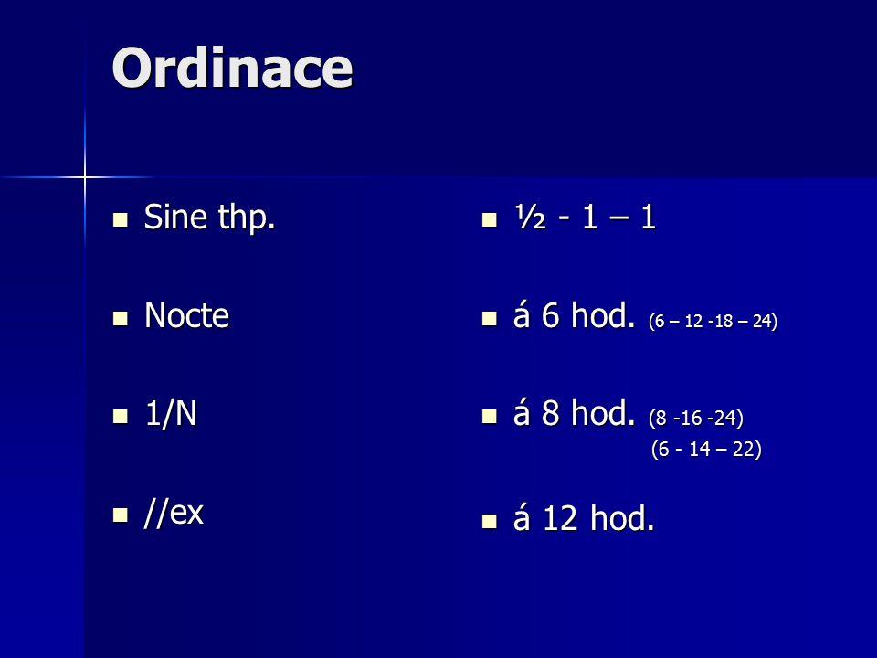 Ordinace Sine thp.Sine thp. Nocte Nocte 1/N 1/N //ex //ex ½ - 1 – 1 ½ - 1 – 1 á 6 hod.