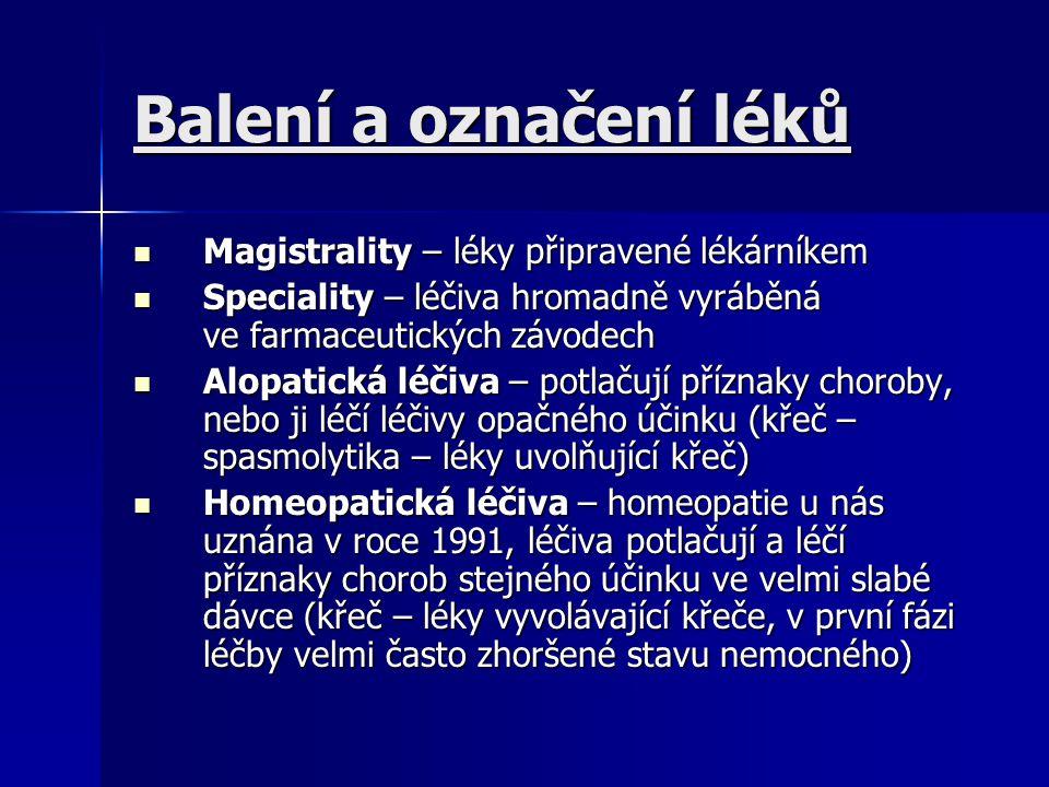 Názvosloví léčiv jeden lék může mít 4 názvy jeden lék může mít 4 názvy generický název – vytvořený podle pravidel WHO, umožňuje identifikaci jakéhokoliv léku kdekoliv na světě (vychází ze složení léku) generický název – vytvořený podle pravidel WHO, umožňuje identifikaci jakéhokoliv léku kdekoliv na světě (vychází ze složení léku) lékopisný název – oficiální – uvedený v lékopise daného státu lékopisný název – oficiální – uvedený v lékopise daného státu chemický název – chemická struktura léku chemický název – chemická struktura léku obchodní název – výrobku jej dává výrobce pod ním se distribuuje obchodní název – výrobku jej dává výrobce pod ním se distribuuje farmaceutické firmy vydávají seznamy jimi vyráběných léčiv a uvádějí v nich i nejdůležitější údaje o léku tzv.