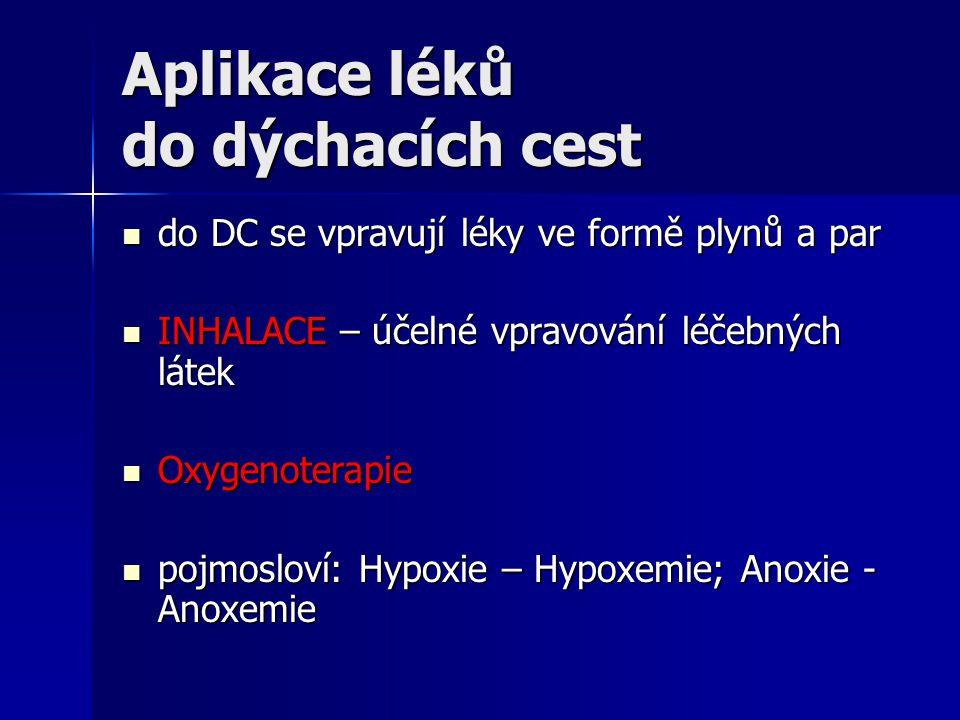 Aplikace léků do dýchacích cest do DC se vpravují léky ve formě plynů a par do DC se vpravují léky ve formě plynů a par INHALACE – účelné vpravování léčebných látek INHALACE – účelné vpravování léčebných látek Oxygenoterapie Oxygenoterapie pojmosloví: Hypoxie – Hypoxemie; Anoxie - Anoxemie pojmosloví: Hypoxie – Hypoxemie; Anoxie - Anoxemie