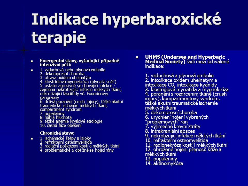 Indikace hyperbaroxické terapie Emergentní stavy, vyžadující případně intenzívní péči: Emergentní stavy, vyžadující případně intenzívní péči: 1.