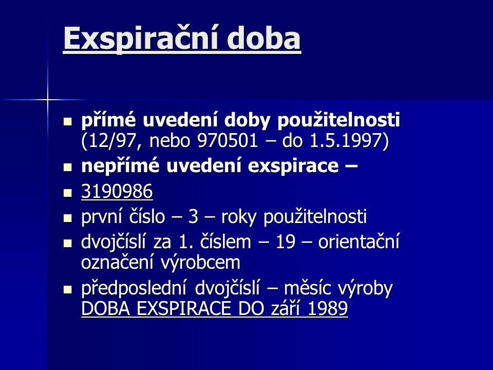 Exspirační doba přímé uvedení doby použitelnosti (12/97, nebo 970501 – do 1.5.1997) přímé uvedení doby použitelnosti (12/97, nebo 970501 – do 1.5.1997) nepřímé uvedení exspirace – nepřímé uvedení exspirace – 3190986 3190986 první číslo – 3 – roky použitelnosti první číslo – 3 – roky použitelnosti dvojčíslí za 1.