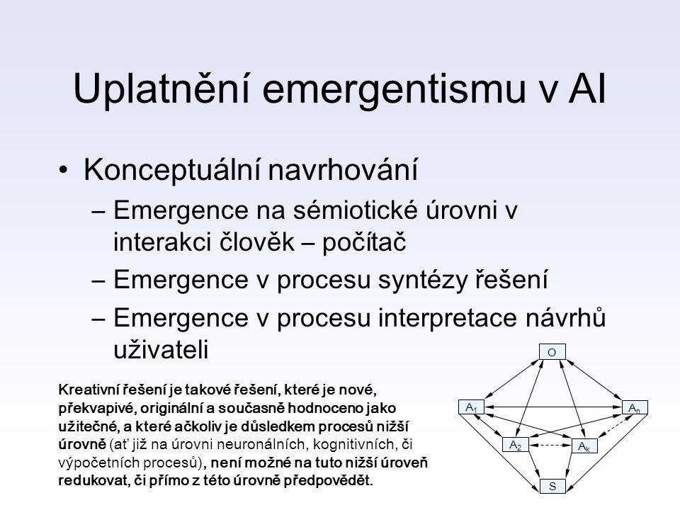 Uplatnění emergentismu v AI Konceptuální navrhování –Emergence na sémiotické úrovni v interakci člověk – počítač –Emergence v procesu syntézy řešení –Emergence v procesu interpretace návrhů uživateli O A1A1 AnAn A2A2 AkAk S Kreativní řešení je takové řešení, které je nové, překvapivé, originální a současně hodnoceno jako užitečné, a které ačkoliv je důsledkem procesů nižší úrovně (ať již na úrovni neuronálních, kognitivních, či výpočetních procesů), není možné na tuto nižší úroveň redukovat, či přímo z této úrovně předpovědět.