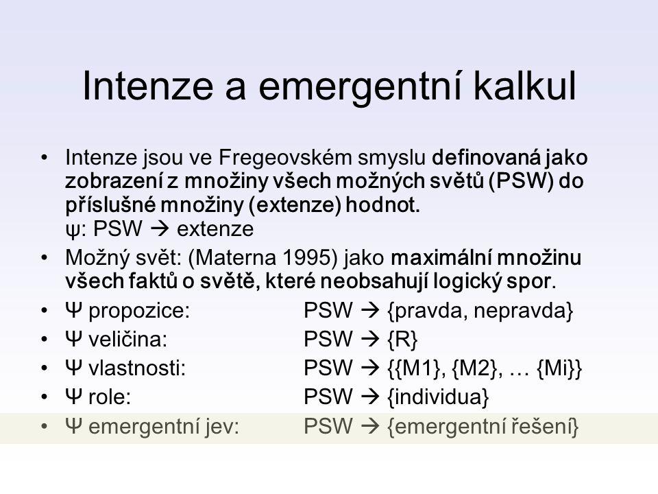Intenze a emergentní kalkul Intenze jsou ve Fregeovském smyslu definovaná jako zobrazení z množiny všech možných světů (PSW) do příslušné množiny (extenze) hodnot.