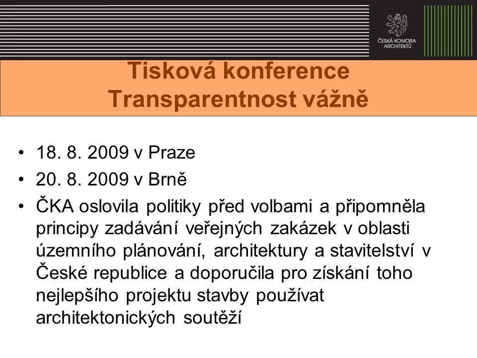 Tisková konference Transparentnost vážně 18. 8. 2009 v Praze 20.