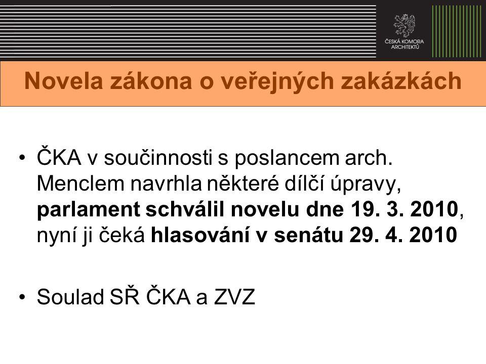 Novela zákona o veřejných zakázkách ČKA v součinnosti s poslancem arch.