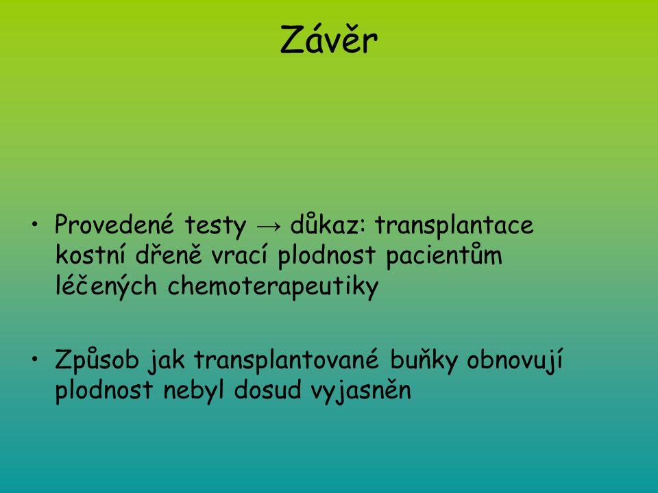 Závěr Provedené testy → důkaz: transplantace kostní dřeně vrací plodnost pacientům léčených chemoterapeutiky Způsob jak transplantované buňky obnovují