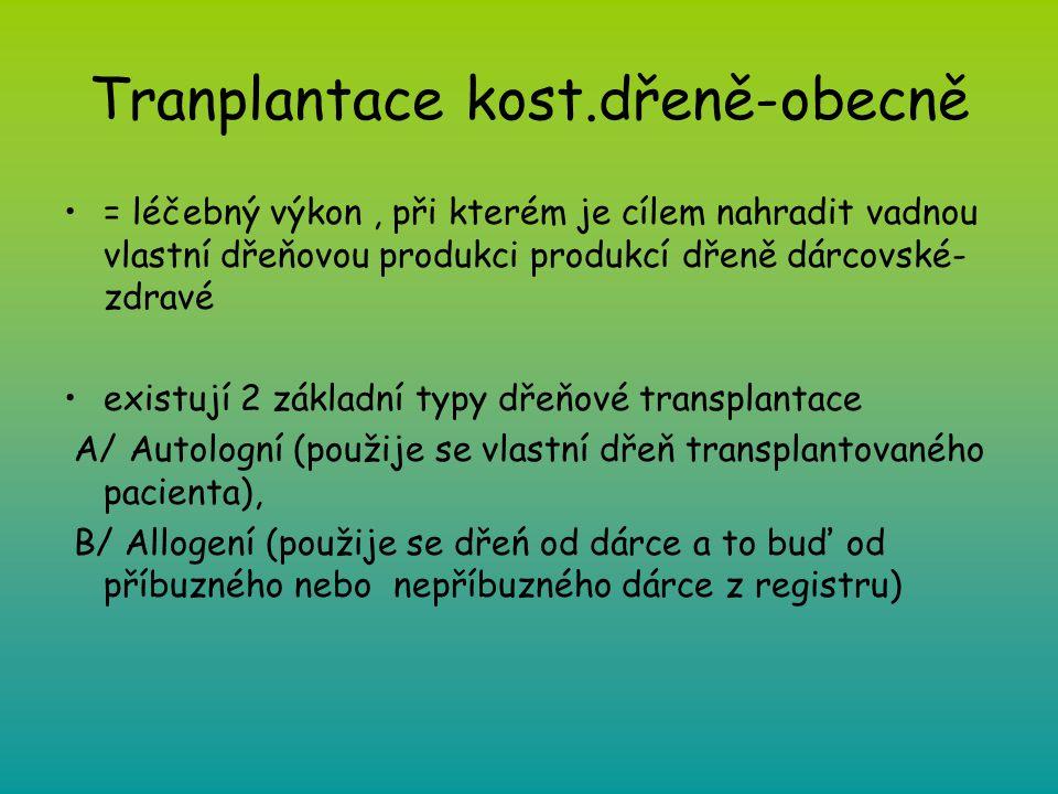 Tranplantace kost.dřeně-obecně = léčebný výkon, při kterém je cílem nahradit vadnou vlastní dřeňovou produkci produkcí dřeně dárcovské- zdravé existuj