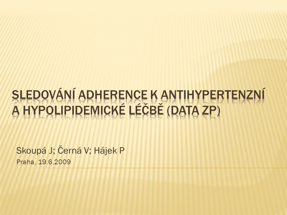  Obvykle nepříliš uspokojivá u chronické medikace  14 % předpisů není vyzvednuto v lékárně (1)  13 % není užíváno  Přerušení terapie statiny v 15-60 % (2)  Antihypertenziva (starší) compliance cca 20 % (3)  Jen zahraniční data  Situace v České republice .