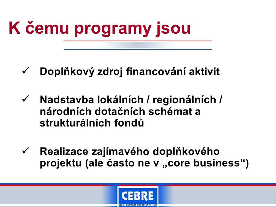 """K čemu programy jsou Doplňkový zdroj financování aktivit Nadstavba lokálních / regionálních / národních dotačních schémat a strukturálních fondů Realizace zajímavého doplňkového projektu (ale často ne v """"core business )"""