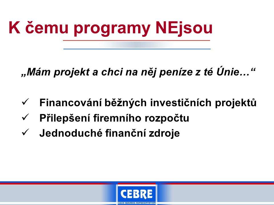 """K čemu programy NEjsou """"Mám projekt a chci na něj peníze z té Únie… Financování běžných investičních projektů Přilepšení firemního rozpočtu Jednoduché finanční zdroje"""