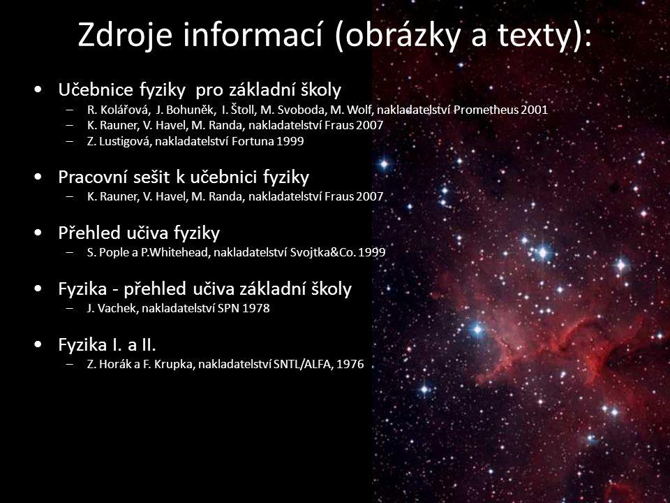 Zdroje informací (obrázky a texty): Učebnice fyziky pro základní školy –R.