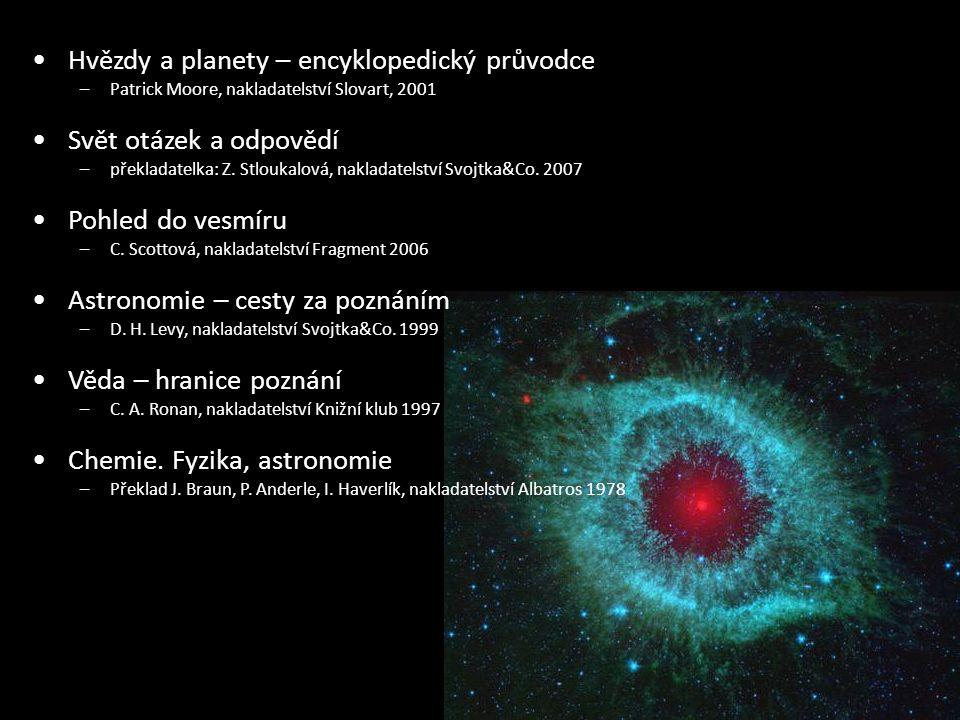 Hvězdy a planety – encyklopedický průvodce –Patrick Moore, nakladatelství Slovart, 2001 Svět otázek a odpovědí –překladatelka: Z.