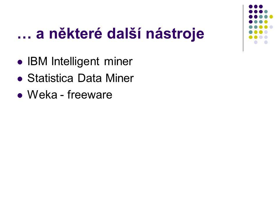 … a některé další nástroje IBM Intelligent miner Statistica Data Miner Weka - freeware