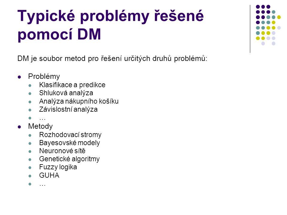 Typické problémy řešené pomocí DM DM je soubor metod pro řešení určitých druhů problémů: Problémy Klasifikace a predikce Shluková analýza Analýza náku