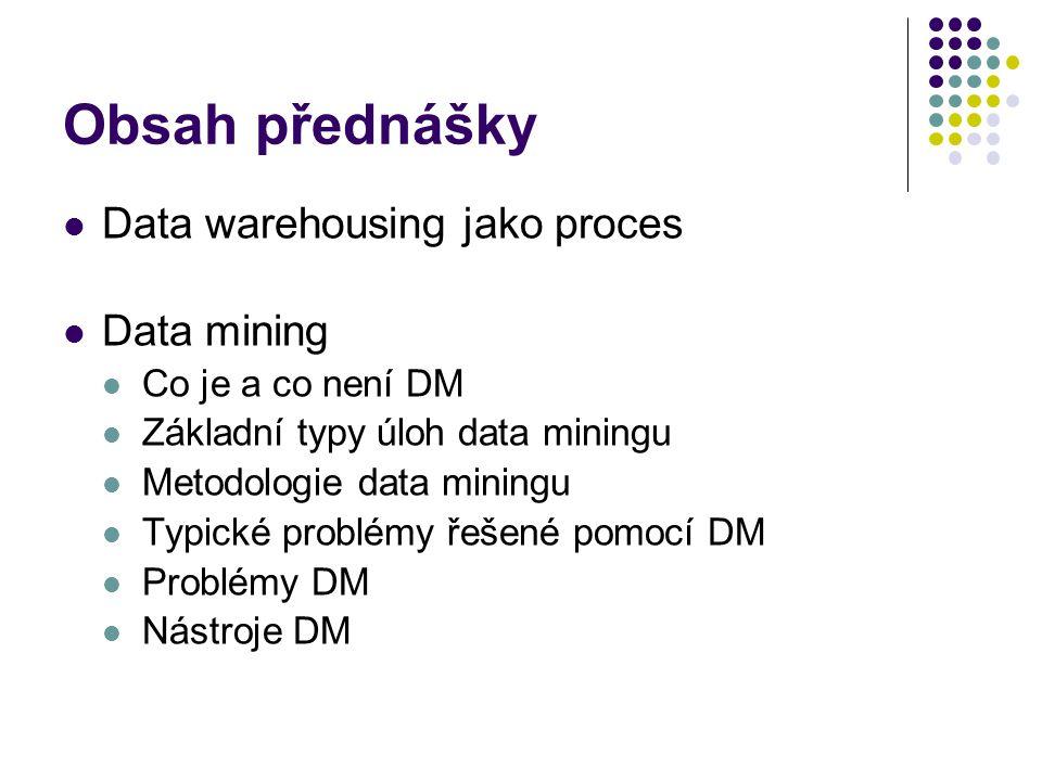 Obsah přednášky Data warehousing jako proces Data mining Co je a co není DM Základní typy úloh data miningu Metodologie data miningu Typické problémy
