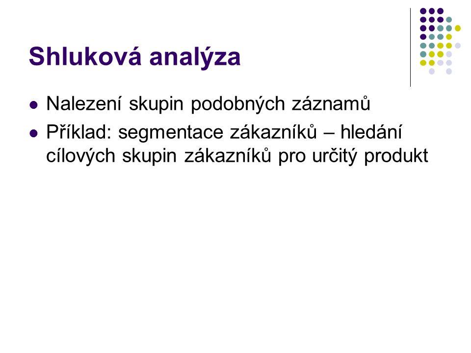 Shluková analýza Nalezení skupin podobných záznamů Příklad: segmentace zákazníků – hledání cílových skupin zákazníků pro určitý produkt