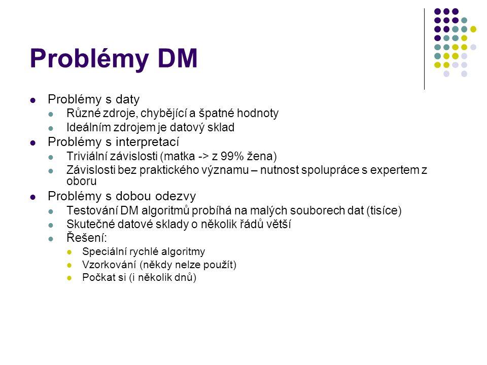 Problémy DM Problémy s daty Různé zdroje, chybějící a špatné hodnoty Ideálním zdrojem je datový sklad Problémy s interpretací Triviální závislosti (ma