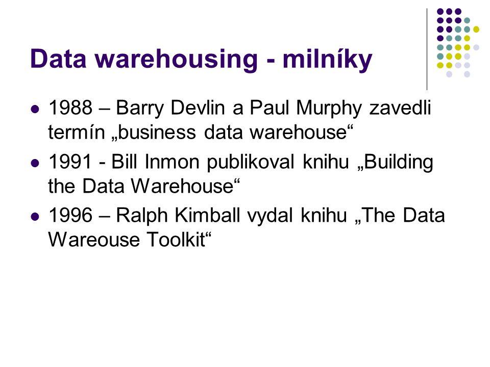 "Data warehousing - milníky 1988 – Barry Devlin a Paul Murphy zavedli termín ""business data warehouse"" 1991 - Bill Inmon publikoval knihu ""Building the"