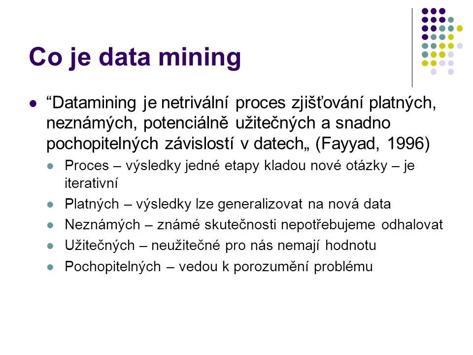 """Co je data mining """"Datamining je netrivální proces zjišťování platných, neznámých, potenciálně užitečných a snadno pochopitelných závislostí v datech"""""""