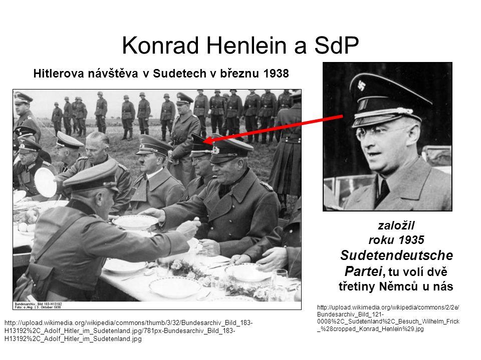 Konrad Henlein a SdP http://upload.wikimedia.org/wikipedia/commons/thumb/3/32/Bundesarchiv_Bild_183- H13192%2C_Adolf_Hitler_im_Sudetenland.jpg/781px-B